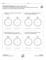 time word problems analog clocks free children u0027s worksheets