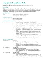 Example Finance Resume by Certified Financial Planner Cv Example Livecareer