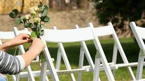 Wooden Wedding Chairs Settings For Wedding Rows Of Decorated White Wooden Chairs