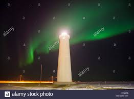 iceland in january northern lights northern lights or aurora borealis display at gardur lighthouse