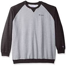 tall ls for sale chion men s big and tall fleece ls crew raglan with contrast