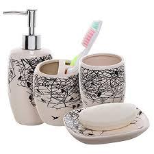 White Bathroom Accessories Ceramic by Beige And White Bathroom Decor Amazon Com