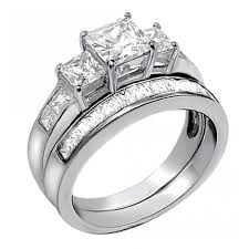 wedding ring sets for women women s three stones cubic zirconia princess cut sterling silver