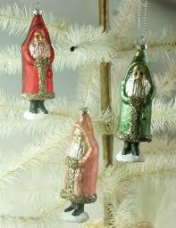 Glass Christmas Ornament Sets - belsnickle glittered glass christmas tree ornament set of 3