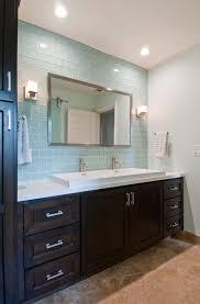 blue glass tile bathroom modern with shower bench drawer vanities tops