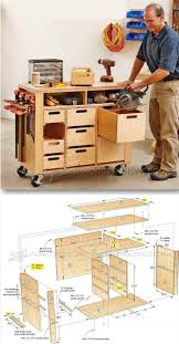 mobile shop cabinet work station woodworking plan shop project