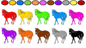 learning colors for kids horse coloring page and book fun