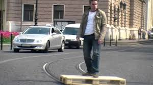 amazing pallet skate on tram rails youtube