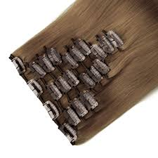 Human Hair Extensions With Clips by Full Head Set Light Brown 8 Straight Clip Ins Human Hair