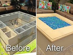 home design cinder block gas fire pit bath designers sprinklers