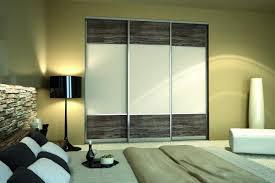white and woodgrain sliding closet doors