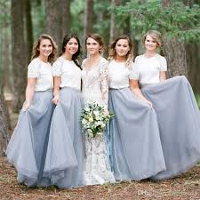 country dusty blue bridesmaid dresses 2017 tulle