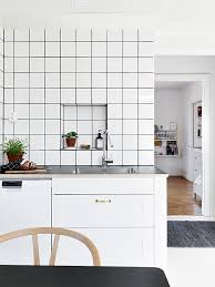 Designs Of Tiles For Kitchen by Via Stadshem Black And White Kitchen Black Grout Cook And