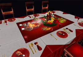 set table to dinner second life marketplace copy modify christmas diner table set v 02