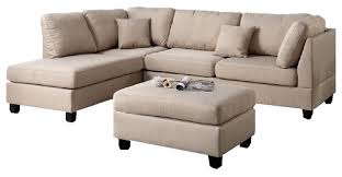 Sectional Sofa Set Fabric Reversible 3 Piece Sectional Chaise Sofa Set Ottoman