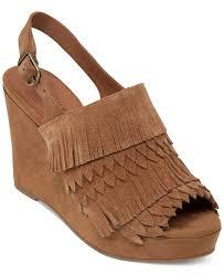 lucky brand jeena fringe platform wedge sandals in natural lyst