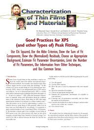 good practices for xps and other types of peak fitting use chi