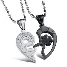 couple necklace key images Opk jewelry stainless steel couple necklace set jpg