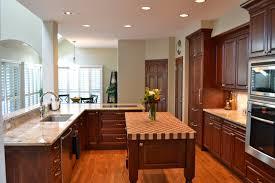 u shaped mahogany wood kitchen cabinets faced off dark dining nook