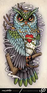 tawny owl tattoo sketch