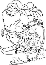 spongebob and santa coloring pages for kids printable christmas