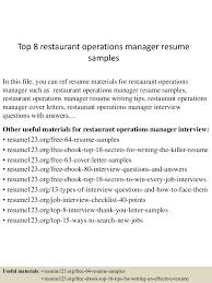 resume examples restaurant top8restaurantoperationsmanagerresumesamples 150521072948 lva1 app6892 thumbnail 4 jpg cb 1432193438