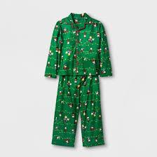 toddler boys peanuts 2pc sleeve pajama set green