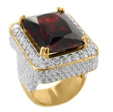mens rings ruby images Red ruby garnet solitaire emerald cut yellow gold finish silver jpg