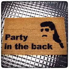 party in the back mullet doormat welcome porch outdoor backyard
