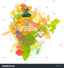 republic india map showing indian culture stock vector 437039734