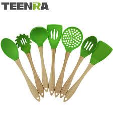 ustensile de cuisine en silicone teenra 7 pcs vert bois poignée silicone ustensiles de cuisine set de