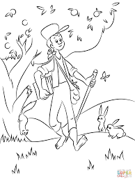 unusual johnny appleseed coloring page johnny appleseed cecilymae