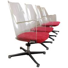 mid century acrylic office chair decor with red velvet padded seat