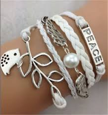 leather charm bracelet ebay images Infinity leaves bird wings antique silver leather charm bracelet jpg