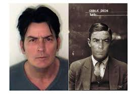contemporary celebrity mugshots re appropriated in a 1920s style