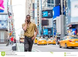 New York Travelers Stock images Young african american man traveling in new york stock photo jpg