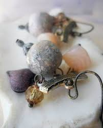 Chandelier Beaded Earrings White Bead Rustic Beaded Earrings White Quartz Beads Layered Bead Caps