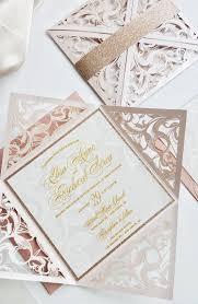 blush and gold wedding invitations blush gold wedding invitation laser cut wedding invite with