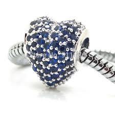 pandora style bracelet diy images 925 sterling silver pave blue zircon heart charm diy women jpg