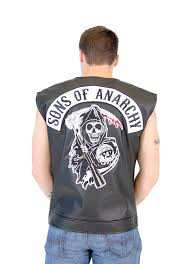 motorcycle jacket vest amazon com soa sons of anarchy black leather highway biker vest
