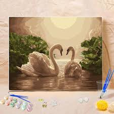 diy acrylic angel deer scenery paint by number kit oil painting