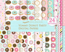 donut wrapping paper donut clipart pattern set illustrations creative market