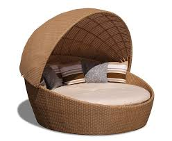 oyster shell round outdoor rattan daybed with canopy sun lounger