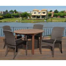 martha stewart living lake adela weathered gray 5 piece all dale 5 piece eucalyptus round patio dining set with grey cushions