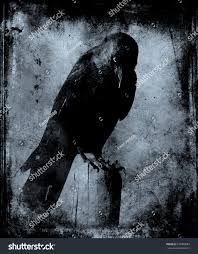 grunge vintage scary wallpaper black crow stock photo 570980683