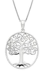 sterling silver tree of necklace pendant with 18