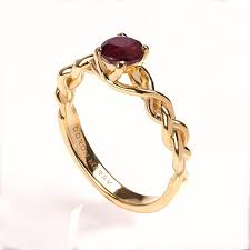 ruby engagement rings braided engagement ring no 2 14k gold and ruby engagement ring