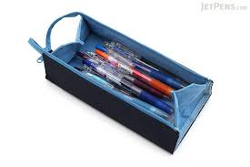 pencil bag kokuyo c2 tray type pencil navy light blue jetpens