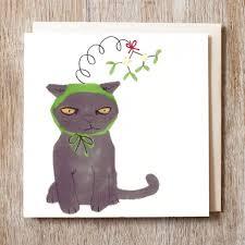 mistletoe hat christmas cards black cat in a mistletoe hat me 2 50