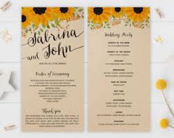 kraft paper wedding programs sunflower program etsy